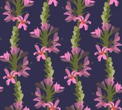 Floral pattern. Floral seamless pattern. Pink flowers and green flower stalks Royalty Free Stock Photography