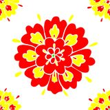 Floral Pattern Seamless with Red and Yellow Petals Vector. Floral Pattern and Texture Seamless with Red and Yellow Petals Vector Stock Photos