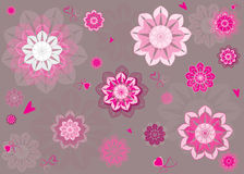 Floral Pattern,Seamless Vector Pattern. Abstract floral pattern vector, pink flowers pattern and little hearts Royalty Free Stock Photography