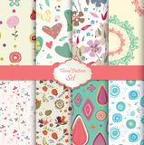 Floral pattern set seamless background Royalty Free Stock Photo