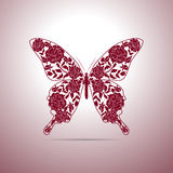 Floral pattern in shape of a butterfly Stock Photography
