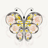Floral pattern in shape of a butterfly Stock Image
