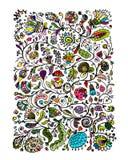Floral pattern, sketch for your design Stock Images