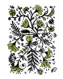 Floral pattern, sketch for your design Stock Photo