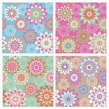 Floral Pattern_Spring. A seamless, repeating retro floral pattern in four Spring fashion colorways Royalty Free Stock Images