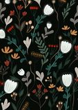 Floral pattern with spring themes on a black background. Lots of yellow, white and red flowers with green leaves twigs on a deep black background royalty free illustration