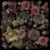 Floral pattern with stars glass effect Royalty Free Stock Photo