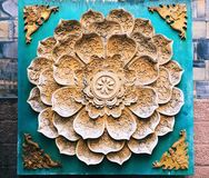 A floral pattern stone caving decoration on the wall. In Chengdu Jinli old street, Sichuan province, China stock image