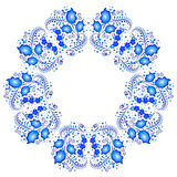 Floral pattern in style of Gzhel in kaleidoscope effect Royalty Free Stock Photo