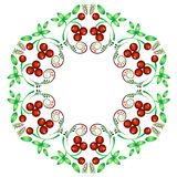 Floral pattern in style of Khokhloma in kaleidoscope effect Royalty Free Stock Images