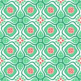Floral pattern with stylized red roses and leaves stock illustration