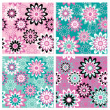 Floral Pattern_Summer. A seamless, repeating retro floral pattern in four Summer fashion colorways Royalty Free Stock Photography