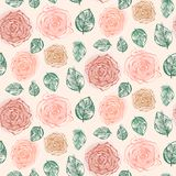 Floral pattern with tender orange roses and leaves royalty free illustration