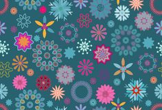 Floral pattern tile in green, blue and pink. Vibrant floral pattern tile in blue, pink and orange over green background. the tile is ready for seamless repeat royalty free illustration