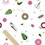 Floral pattern with tools for garden and florist royalty free illustration