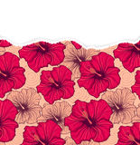 Floral pattern with torn paper Stock Photo