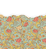 Floral pattern with torn paper Royalty Free Stock Images
