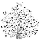 Floral Pattern Tree & Butterflies-Vector Royalty Free Stock Photo