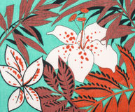 Floral pattern on turqoise fabric. Royalty Free Stock Photography