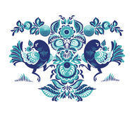 Floral pattern with two birds in Gorodets style. Folk Gorodets print in Russian Style. A floral pattern with two birds. Traditional vector art in blue colors Royalty Free Stock Images