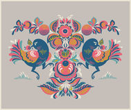 Floral pattern with two birds in Gorodets style. Folk Gorodets print in Russian Style. A floral pattern with two birds. Traditional vector art in in pink, yellow Stock Photo