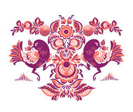 Floral pattern with two birds in Gorodets style. Folk Gorodets print in Russian Style. A floral pattern with two birds. Traditional vector art in red colors Royalty Free Stock Image