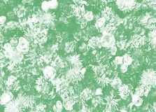 Floral pattern with variety of flowers on green as a background Stock Images