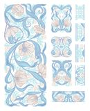 Floral pattern vector illustration. Floral pattern in art nouveau style, vintage, old, retro style. Set of decorative elements for design. Colored vector stock photos
