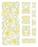 Floral pattern vector illustration. Floral pattern in art nouveau style, vintage, old, retro style. Set of decorative elements for design. Colored vector royalty free stock photos