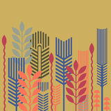 Floral pattern. Vector pattern linear composition of plants Royalty Free Stock Images