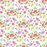 Floral pattern vector seamless background with flowers gentle spring flora wallpaper textile design nature blossom Stock Image