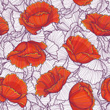 Floral pattern. Vector seamless pattern made of stylized red flowers Royalty Free Stock Image