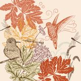Floral pattern in vintage style with birds, dragonfly and foliag Royalty Free Stock Image