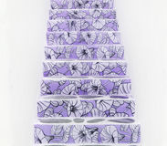 Floral pattern on violet stairs Stock Image