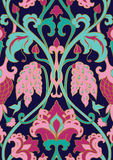 Floral pattern for wallpaper. Green and pink floral pattern. Seamless filigree ornament. Stylized template for wallpaper, textile, shawl, carpet and any surface Stock Photos