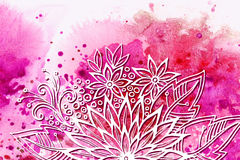 Floral Pattern on Watercolor Painting Royalty Free Stock Photography