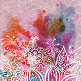 Floral Pattern on Watercolor Painting Stock Photos