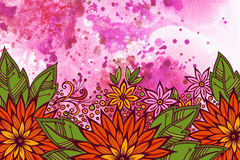 Floral Pattern on Watercolor Painting Stock Image