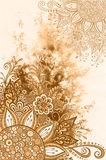 Floral Pattern on Watercolor Painting Royalty Free Stock Photo