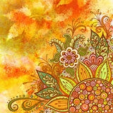 Floral Pattern on Watercolor Painting Stock Photo