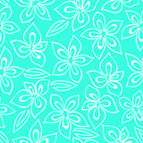Floral pattern with white abstract flowers painted on a turquoise background Stock Images