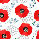 Floral pattern on white background. Cute red poppies with decorative dots seamless background. Fashion Stock Photos