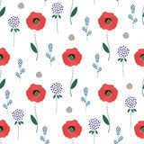 Floral pattern on white background. Cute spring flowers seamless background - clover, red poppies. Decorative texture. Design for fabric, wallpaper, textile Royalty Free Stock Photography