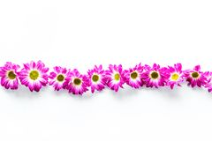 Floral pattern with pink flowers on white background top view copyspace Stock Photo