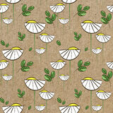 Floral  pattern with white daisies and green leaves. Floral  pattern with chamomiles and green leaves, seamless print for textile and wrapping paper Royalty Free Stock Photography