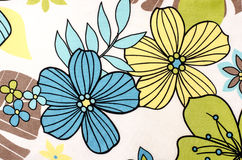 Floral pattern on white fabric. Stock Photo