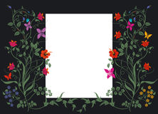 Floral pattern with white label Royalty Free Stock Image