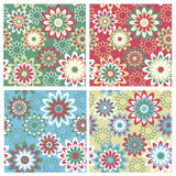 Floral Pattern_Winter. A seamless, repeating retro floral pattern in four Winter fashion colorways Stock Photography