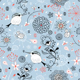 Floral Pattern With Birds Stock Photo