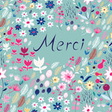 Floral Pattern With Inscription Stock Photo